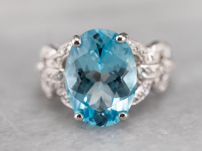 White Gold Blue Topaz and Diamond Cocktail Ring