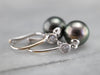 Black Pearl and Diamond Drop Earrings