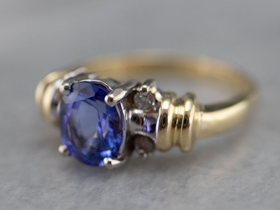 Two Tone Gold Tanzanite and Diamond Ring