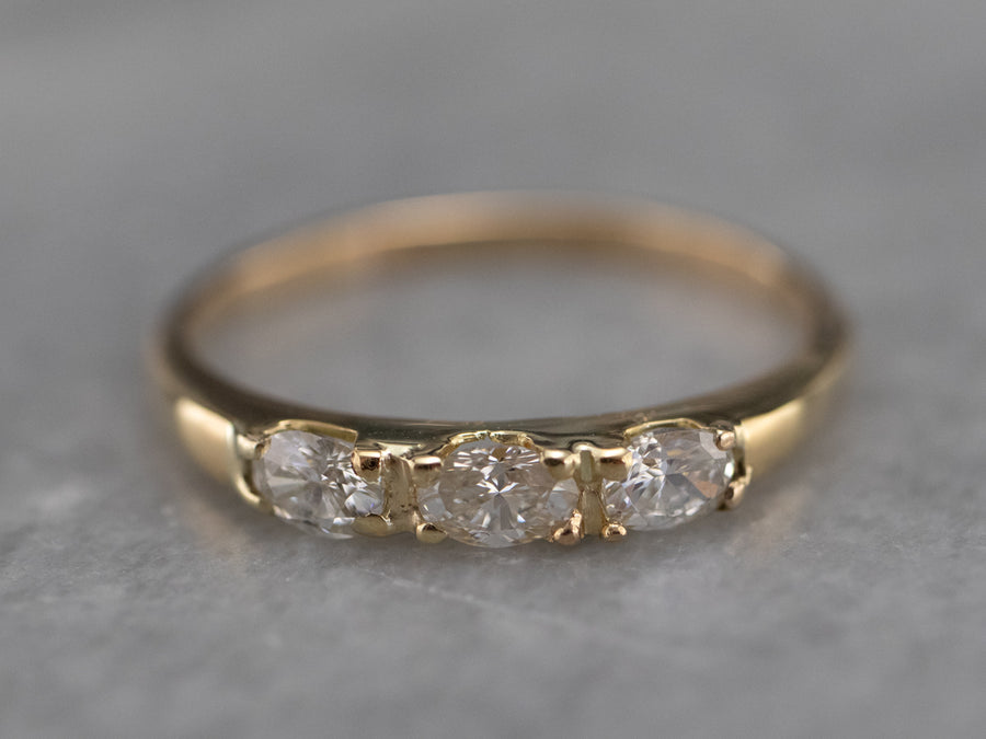 Three Stone Marquise Cut Diamond Band