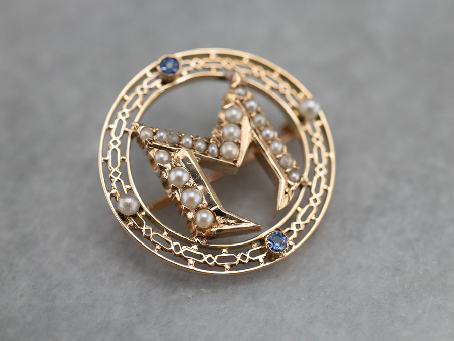 "Sapphire and Seed Pearl ""M"" Monogrammed Circle Pin"