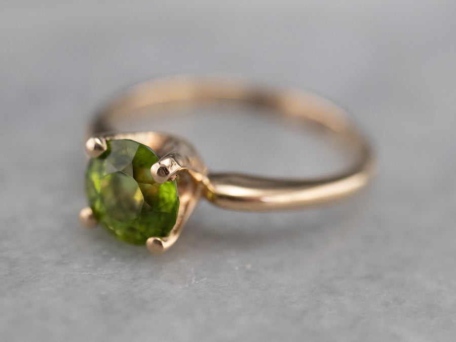 Vintage Peridot Solitaire Ring