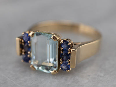 Bold Gold Aquamarine and Sapphire Ring