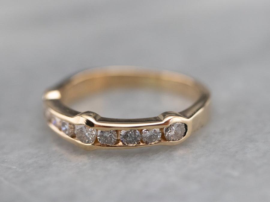 Yellow Gold Modernist Diamond Band