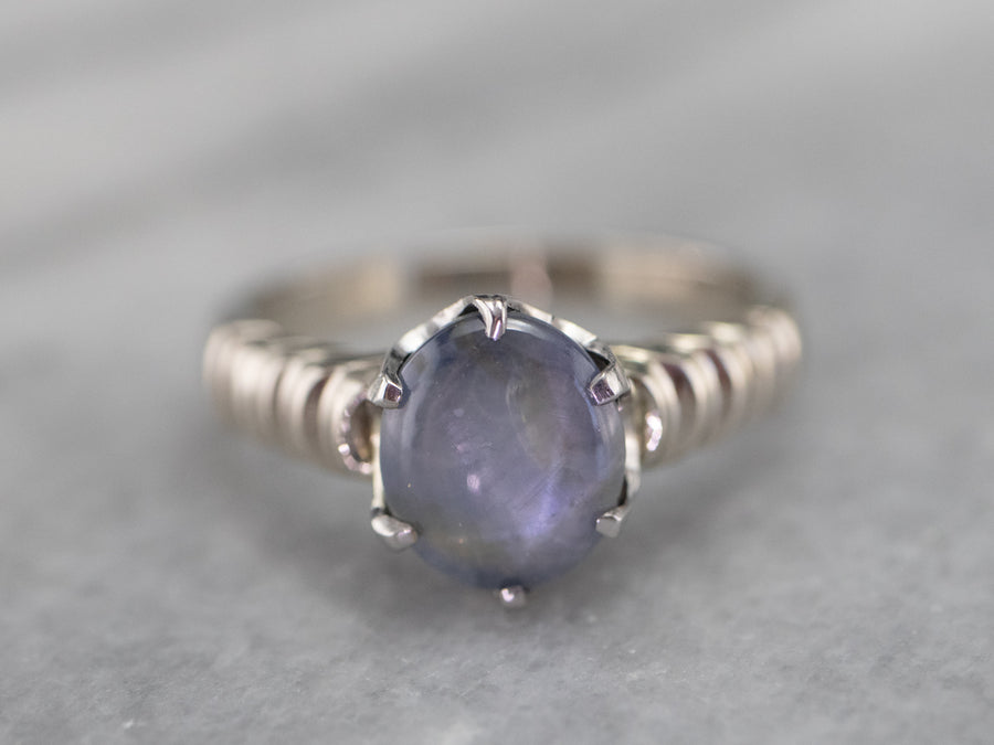 White Gold Star Sapphire Solitaire Ring