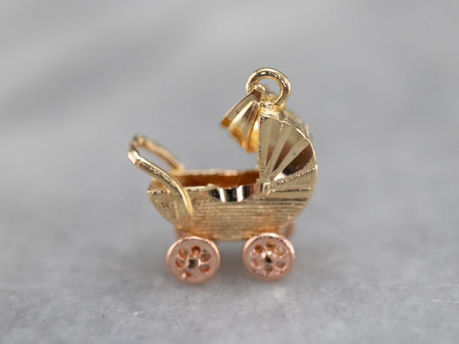 Two Tone Gold Vintage Baby Buggy Charm