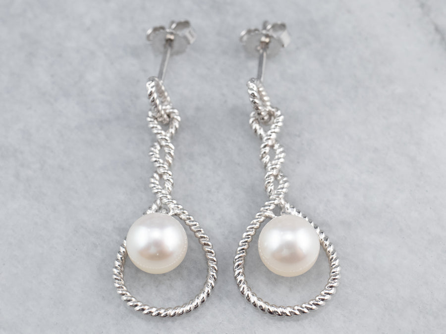 Pearl White Gold Twisted Drop Earrings