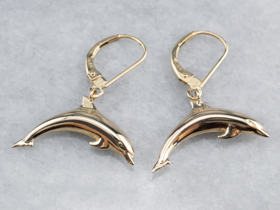 14K Gold Dolphin Drop Earrings