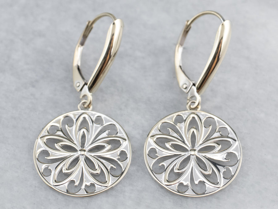White Gold Filigree Disk Drop Earrings