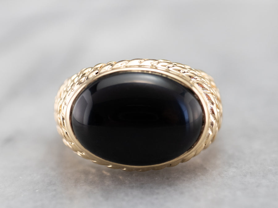 Bold Black Onyx and Gold Statement Ring