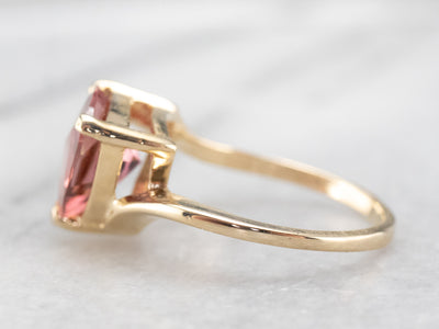 Trillion Cut Pink Tourmaline Ring