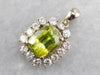 Sphene and Diamond Halo Pendant