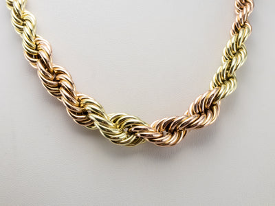 Graduated Two Tone Gold Twist Chain