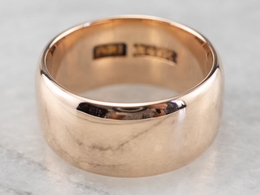 Wide Antique Rose Gold Band