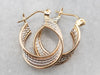 Two Tone Gold Ribbon Twist Hoop Earrings