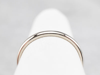 Plain White Gold Wedding Band