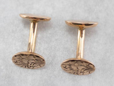 Antique Rose Gold Floral Cufflinks