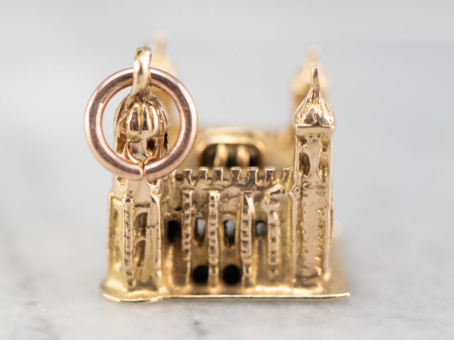 Detailed Gold Tower of London Charm