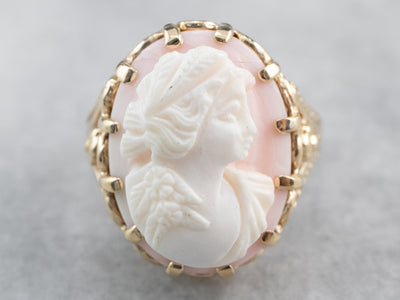 Vintage Pink Shell Cameo Cocktail Ring