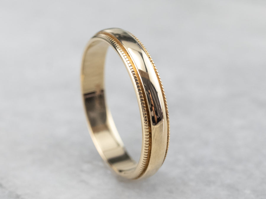 Vintage Yellow Gold Milgrain Edge Band