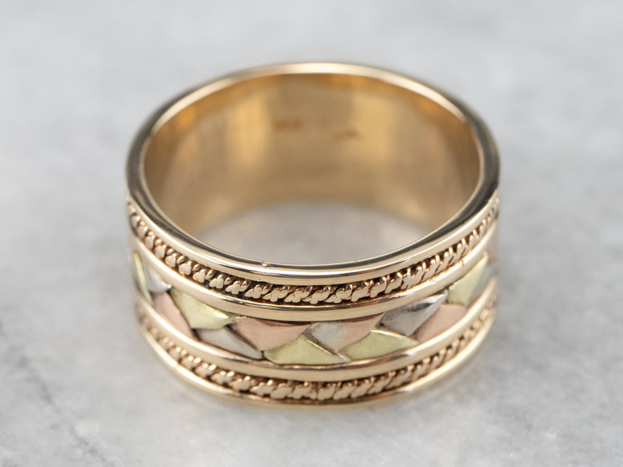 Wide Tri-Color Gold Pattern Band