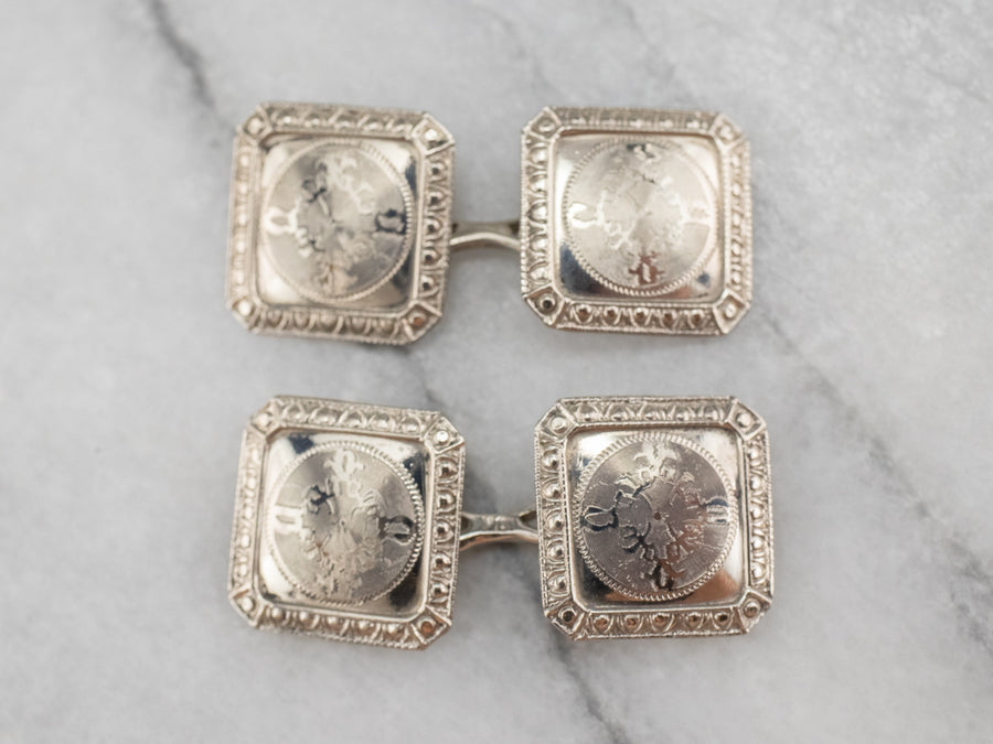 Art Deco Ornate White Gold Cufflinks
