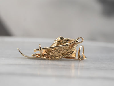 14K Gold Ski and Pole Charm or Pendant