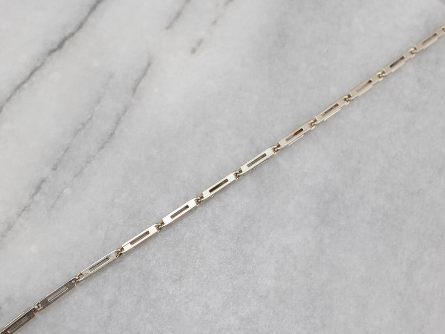 14K White Gold Bar Link Watch Chain