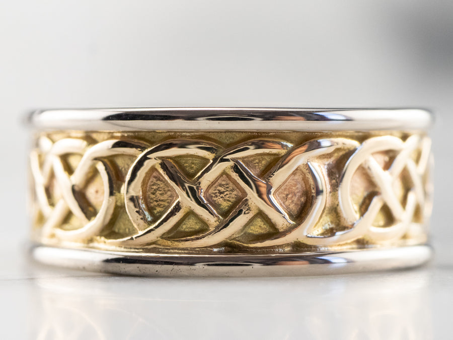 Celtic Knot Patterned Two Tone Gold Band