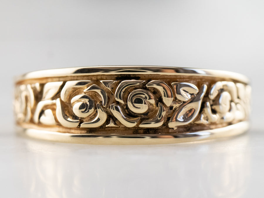 Rose Patterned Gold Tapered Band Ring