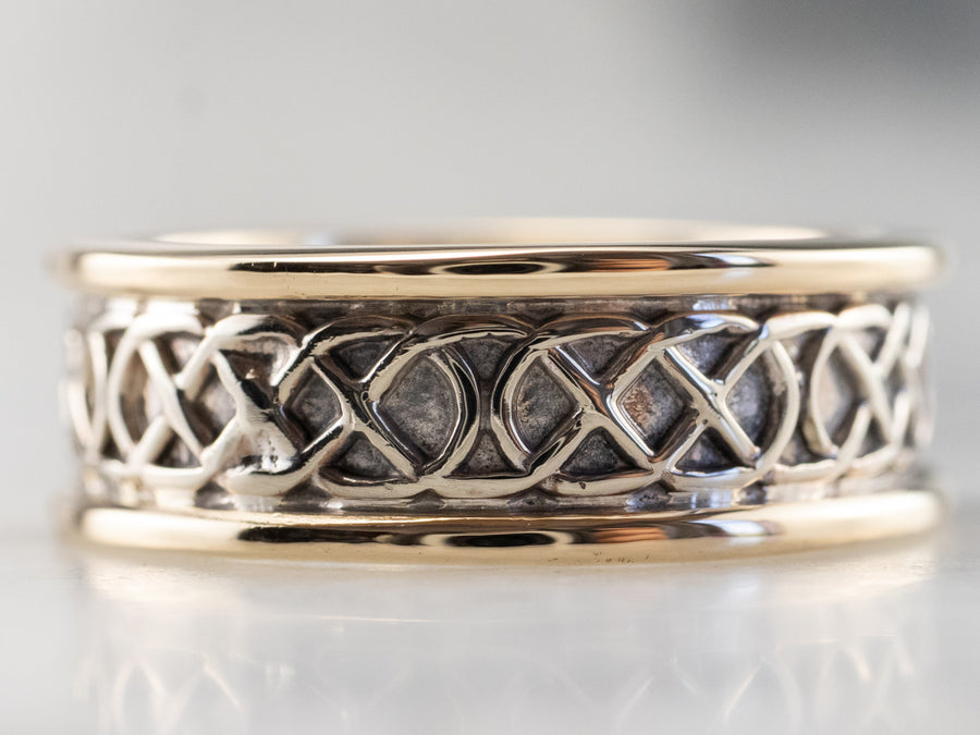 Two Tone Gold Lattice Patterned Band Ring