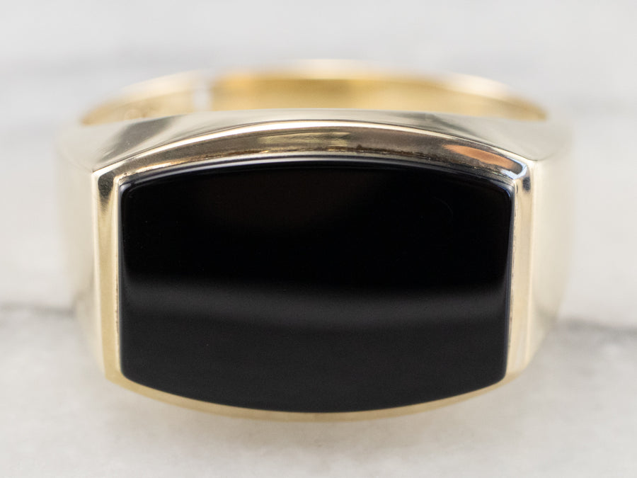 Vintage Black Onyx Gold East to West Ring
