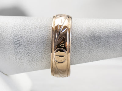 Laurel Patterned Two Tone Gold Wedding Band