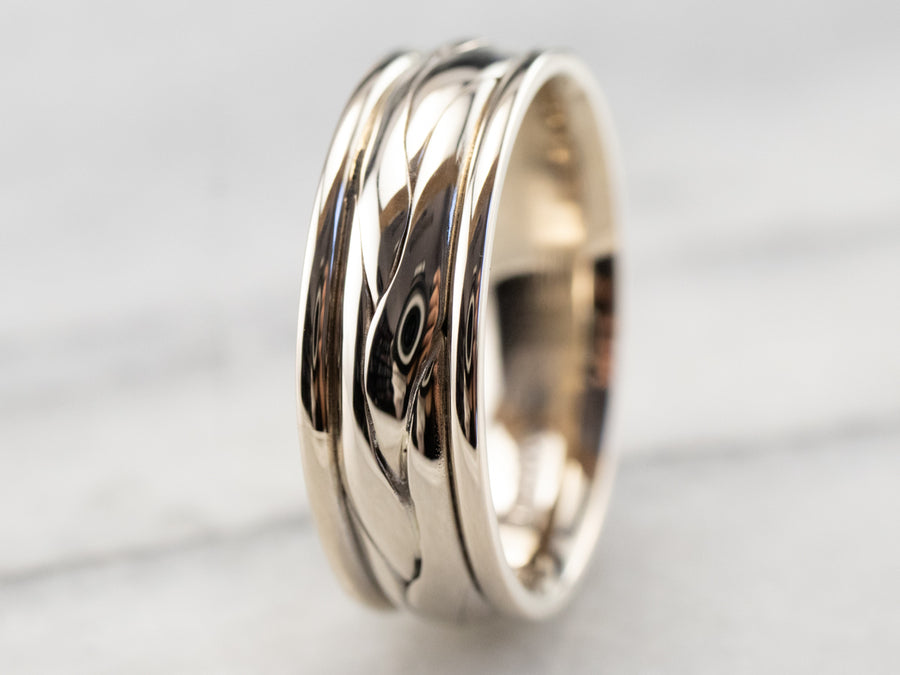 Braided Patterned White Gold Wedding Band