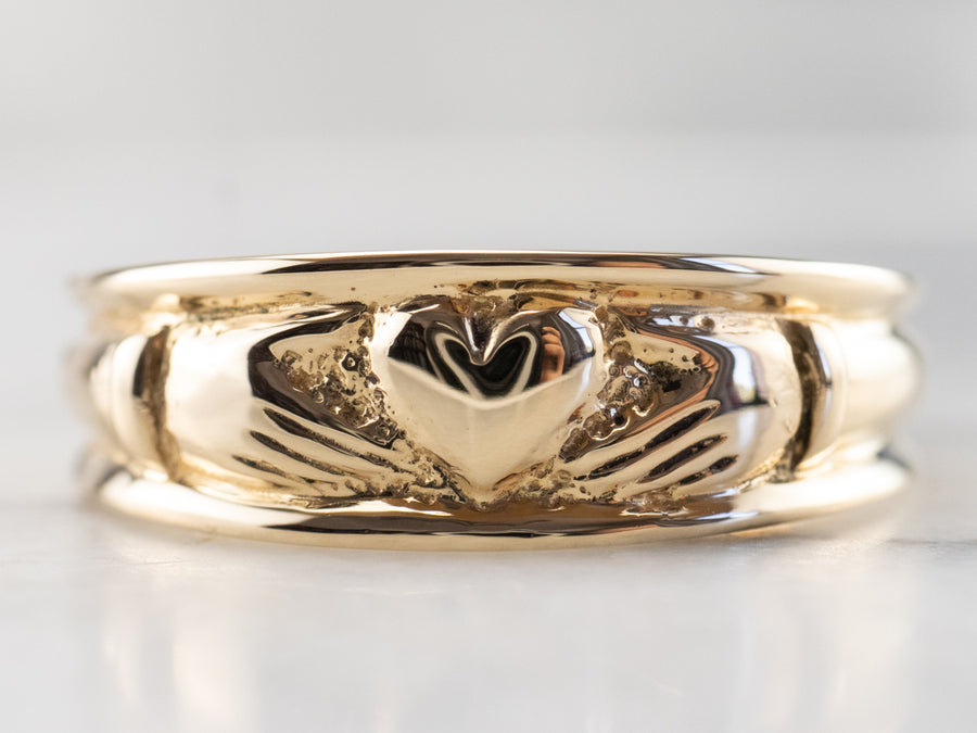 14K Gold Claddagh Band Ring