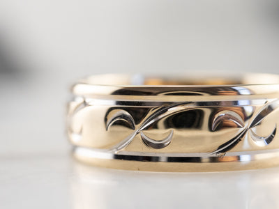 Patterned Two Tone Gold Wedding Band