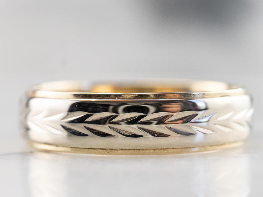 Chevron Patterned Two Tone Gold Wedding Band