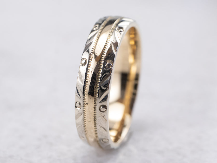 Vintage Patterned Two Tone Gold Wedding Band