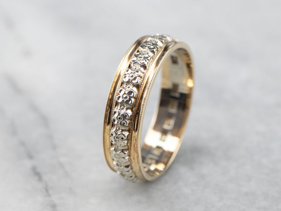 Floral Patterned Two Tone Gold Wedding Band