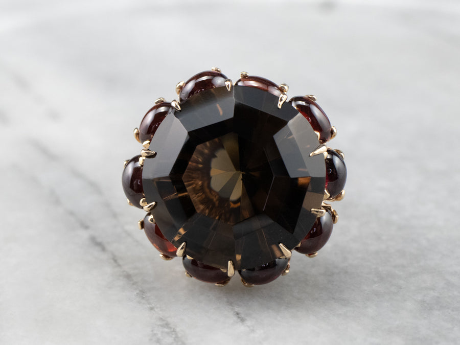 Smoky Quartz Garnet Halo Gold Cocktail Ring