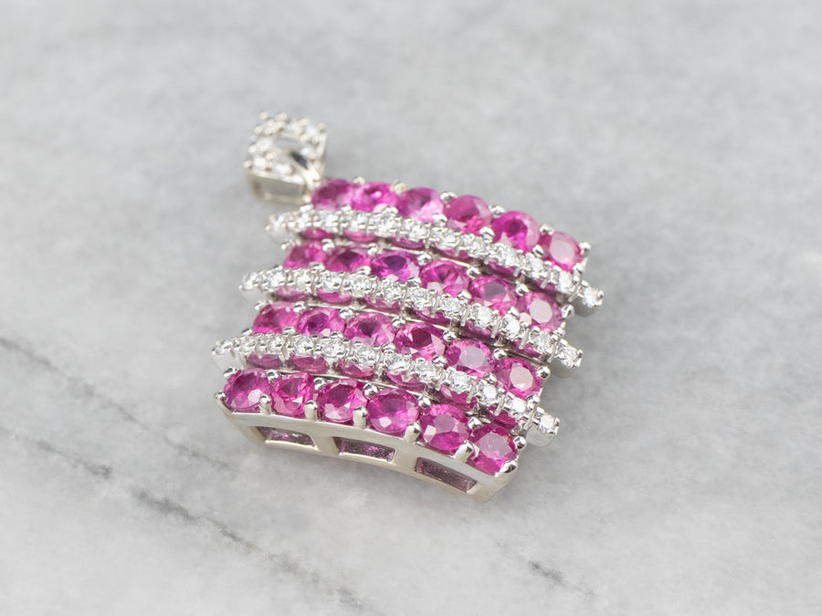 Ruby Diamond Encrusted White Gold Pendant