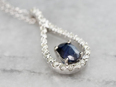 Teardrop Sapphire and Diamond Halo Necklace