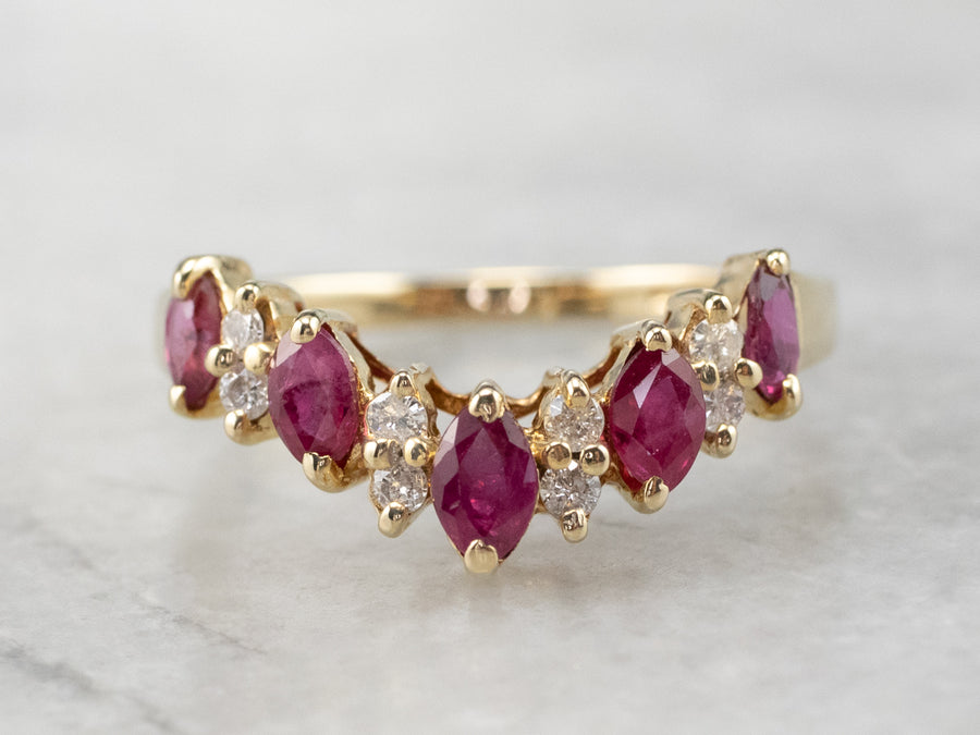 Marquise Ruby and Diamond Contour Band