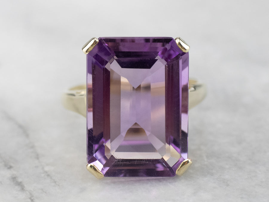 Gold Amethyst Statement Ring