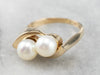 Double Pearl Gold Statement Ring