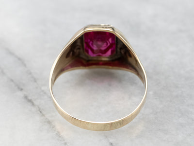 Men's Ruby Glass and Gold Antique Masonic Ring