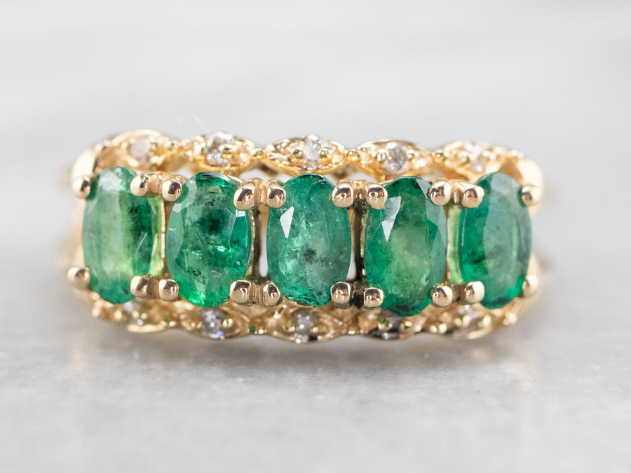 Gold Emerald and Diamond Cocktail Band