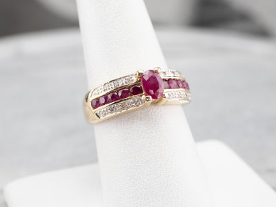 Two Tone Gold Ruby and Diamond Ring