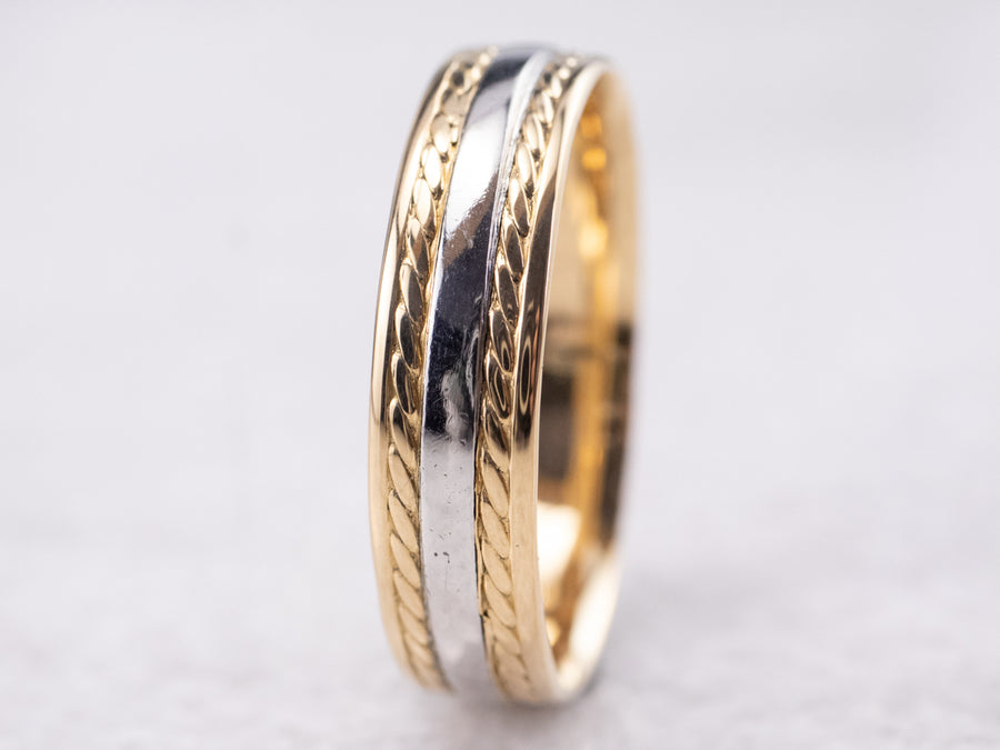 Mixed Metal Nautical Rope Twist Band