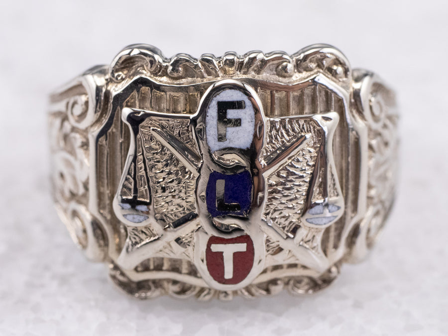 Ornate FLT Odd Fellows Ring